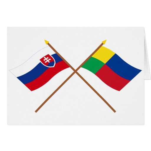 Slovakia and Zilina Crossed Flags Greeting Card