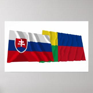 Slovakia and Zilina Waving Flags Print