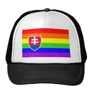 slovakia country gay proud rainbow flag homosexual trucker hat