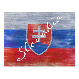 Slovakia distressed flag postcard