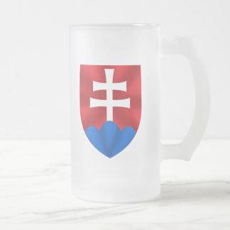 Slovakia emblem for Slovaks Frosted Glass Beer Mug