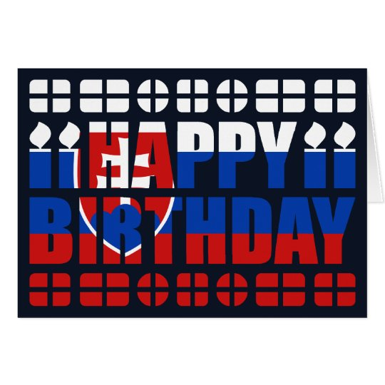 Slovakia Flag Birthday Card