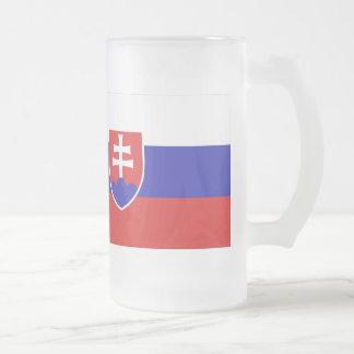 Slovakia Flag Frosted Glass Beer Mug