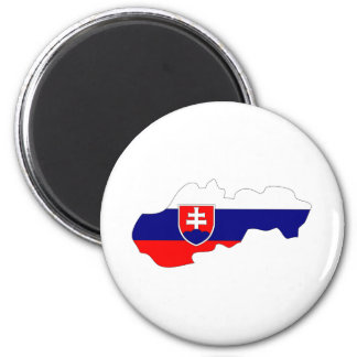 Slovakia Flag Map full size 2 Inch Round Magnet