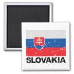Slovakia Flag Vintage 2 Inch Square Magnet
