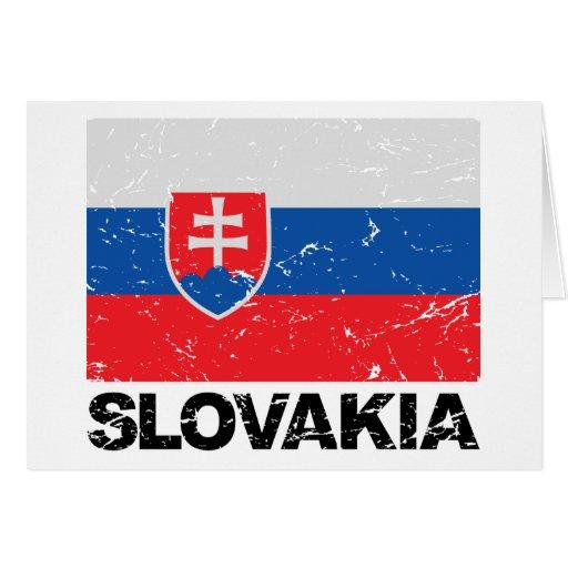 Slovakia Flag Vintage Greeting Card