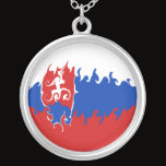 Slovakia Gnarly Flag Silver Plated Necklace