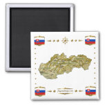 Slovakia Map + Flags Magnet