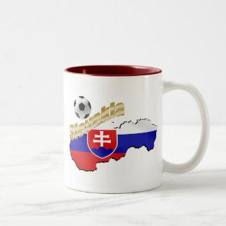 Slovakia Map for Slovak people and soccer lovers Two-Tone Coffee Mug