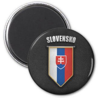 Slovakia Pennant with high quality leather look 2 Inch Round Magnet