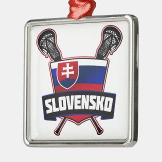 Slovakia Slovensko Lacrosse Metal Ornament