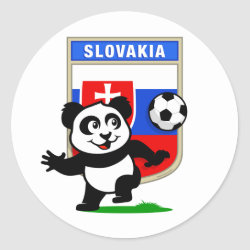 Round Sticker with Slovakia Football Panda design