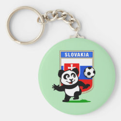 Basic Button Keychain with Slovakia Football Panda design