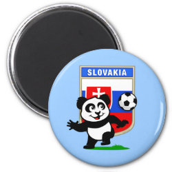 Round Magnet with Slovakia Football Panda design