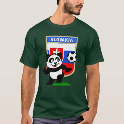 Men's Basic Dark T-Shirt with Slovakia Football Panda design