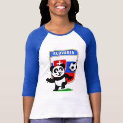 Ladies Raglan Fitted T-Shirt with Slovakia Football Panda design