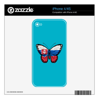 Slovakian Butterfly Flag Decals For iPhone 4S