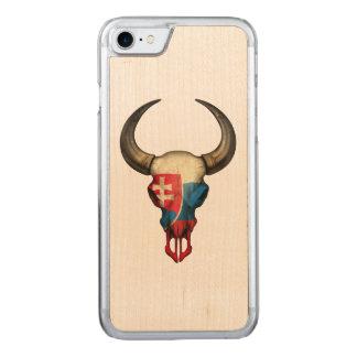 Slovakian Flag Bull Skull Carved iPhone 7 Case