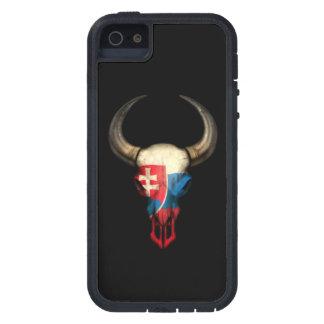 Slovakian Flag Bull Skull on Black iPhone SE/5/5s Case