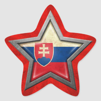Slovakian Flag Star with Rays of Light Star Sticker