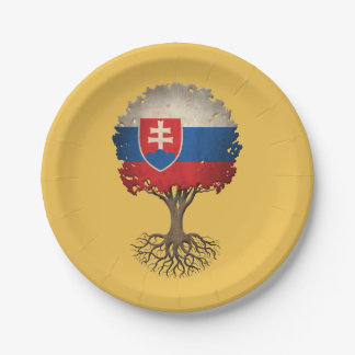 Slovakian Flag Tree of Life Customizable 7 Inch Paper Plate