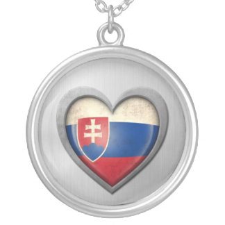 Slovakian Heart Flag Stainless Steel Effect Round Pendant Necklace
