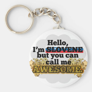 Slovene, but call me Awesome Basic Round Button Keychain