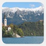 Slovenia, Bled, Lake Bled, Bled Island, Bled 2 Square Sticker