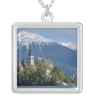 Slovenia, Bled, Lake Bled, Bled Island, Bled Silver Plated Necklace