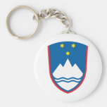 Slovenia coat of arms basic round button keychain