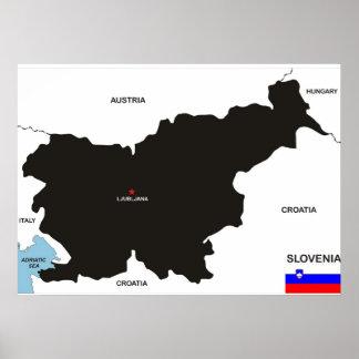 slovenia country political map flag poster