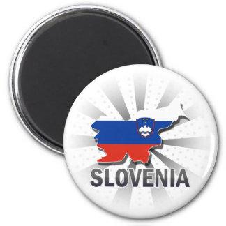 Slovenia Flag Map 2.0 2 Inch Round Magnet
