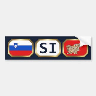 Slovenia Flag Map Code Bumper Sticker Car Bumper Sticker