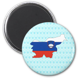 Slovenia Flag Map full size 2 Inch Round Magnet