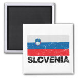 Slovenia Flag Vintage 2 Inch Square Magnet