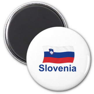Slovenia Flag - w/inscription 2 Inch Round Magnet