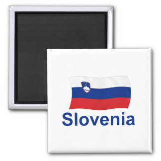 Slovenia Flag - w/inscription 2 Inch Square Magnet