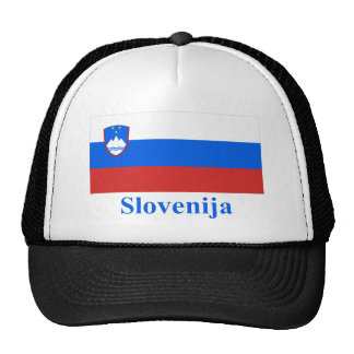 Slovenia Flag with Name in Slovenian Trucker Hat