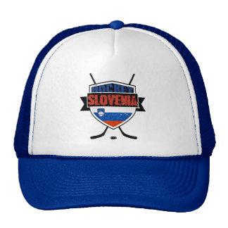 Slovenia Ice Hockey Shield Trucker Hats