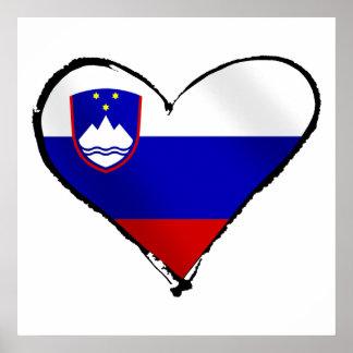 Slovenia Love - I heart Slovenia flag gifts Poster