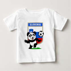 Baby Fine Jersey T-Shirt with Slovenia Football Panda design