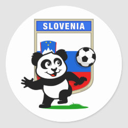Round Sticker with Slovenia Football Panda design