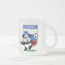 Frosted Glass Mug with Slovenia Football Panda design