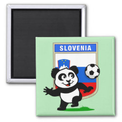 Square Magnet with Slovenia Football Panda design