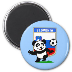 Round Magnet with Slovenia Football Panda design
