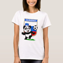 Women's Basic T-Shirt with Slovenia Football Panda design