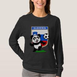 Women's Basic Long Sleeve T-Shirt with Slovenia Football Panda design