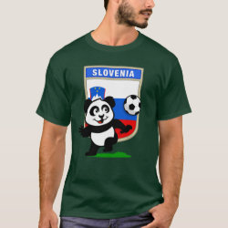 Men's Basic Dark T-Shirt with Slovenia Football Panda design