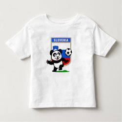 Toddler Fine Jersey T-Shirt with Slovenia Football Panda design