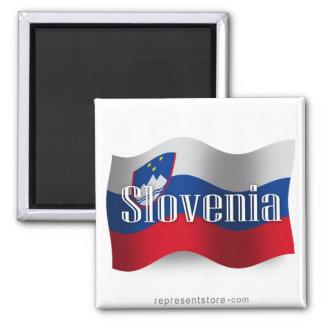 Slovenia Waving Flag 2 Inch Square Magnet